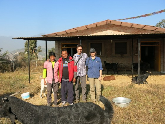 Umbar, the new caretaker, manager Pema, Phil Hunt and Tania Duratovic, January 2014. Photo courtesy of Animal Liberation Sanctuary.
