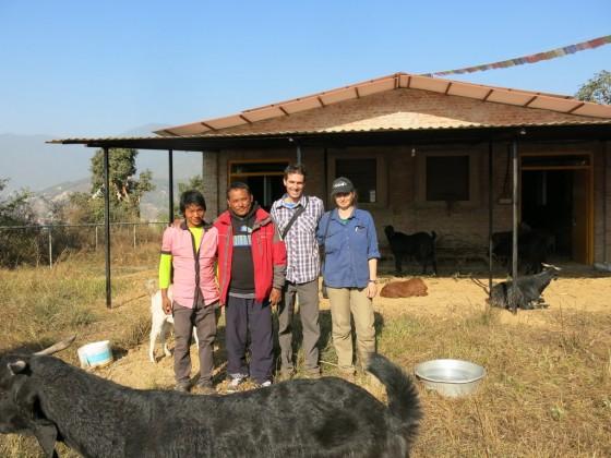 Umbar, the new caretaker, manager Pema, Phil Hunt and Tania Duratovic, January 2014. Photo courtesy of Animal Liberation Sanctuary.