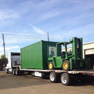 Jade Buddha container and forklift, loaded up and ready to roll, January 2014