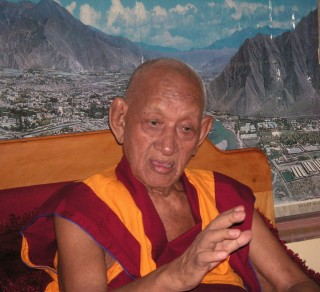 Khensur Lobsang Tsering, the inaugural speaker at Choe Khor Sum Ling's founding, was also at the Jangchup Lamrim teachings, Sera Je Monastery, India, December 2013. Photo by Shanti Y.