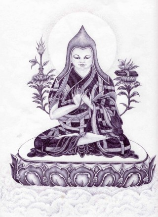 """Lama Tsongkhapa offered by Henry Haro of California's Pelican Bay State Prison Security Housing Unit to His Holiness Zong Rinpoche. """"I prayed to Lama Tsongkhapa that anyone who sees, touches or comes into proximity of His image during its journey from here to LPP, from LPP to the residency of Zong Rinpoche, be blessed."""""""