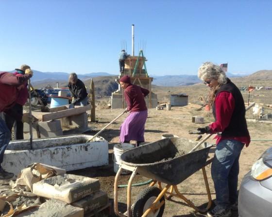 Stupa work party, Tonasket, Washington, US, October 2013. Photo courtesy of Su Ianniello.