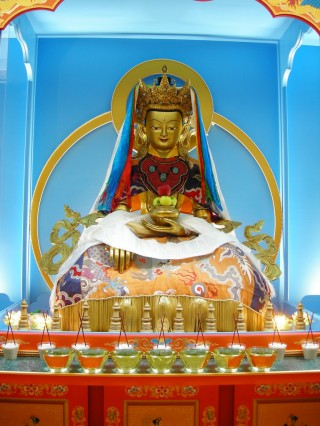 Replica of Jowo Rinpoche. Two of the statues at FPMT International Office's Jokhang, Portland, Oregon, USA.