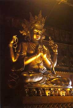 Chenrezig statue as it appeared in Kundun. Photo courtesy of ILTK.