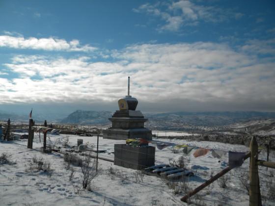 Pamtingpa Center's nearly complete stupa, Tonasket, Washington, US, January 2014. Photo by Su Ianniello.