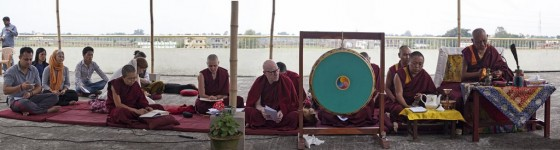 Lama Zopa Rinpoche doing puja with Sangha and lay students on the roof of Root Institute, Bodhgaya, India, March 2014. Photo by Andy Melnic.