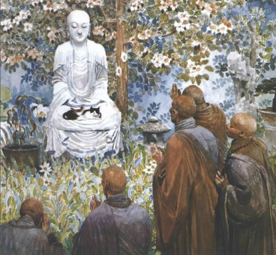 Illustration from Buddha in the Garden by David Bouchard and Zhong-Yang Huang, published in 2001 by Raincoast Books. Artwork ©2001 by Zhong-Yang Huang.