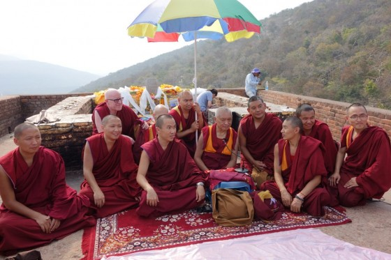 Lama Zopa Rinpoche with  monks at Vulture's Peak, India, March 2014. Photo by Ven. Roger Kunsang.