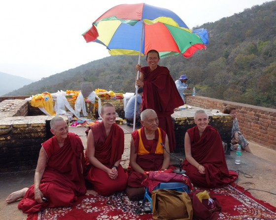 Lama Zopa Rinpoche with nuns at Vulture's Peak, India, March 2014. Photo by Ven. Roger Kunsang.