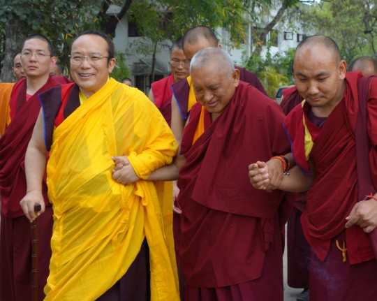 Tai Situ Rinpoche and Lama Zopa Rinpoche on Maitreya Project land, Bodhgaya, India, March 2014. Photo by Ven. Roger Kunsang.