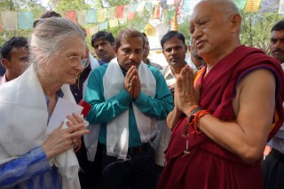 Rinpoche thanking Adrian and MAITRI staff, Bodhgaya, India, March 2014. Photo by Ven. Roger Kunsang.
