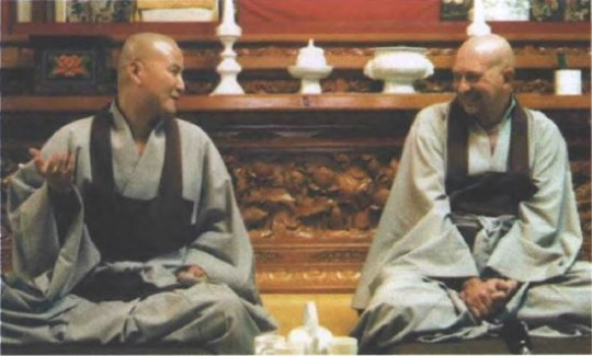 Ven. Gyatso, right, with Zen master Do Kwan Sunitn, at Hwa Gye Sa Monastery