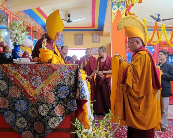 Lama Zopa Rinpoche and Dagri Rinpoche during long life puja on Losar, Root Institute, Bodhgaya, India, March 2014. Photo by Ven. Sarah Thresher.