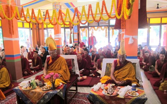Dagri Rinpoche and Keutsang Rinpoche at Root Institute, Bodhgaya, India, March 2014. Photo by Ven. Sarah Thresher.