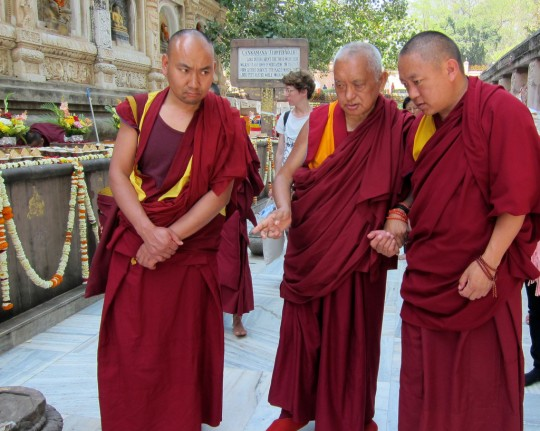Lama Zopa Rinpoche circumambulating the Mahabodhi Stupa, Bodhgaya, India, March 2014. Photo by Ven. Sarah Thresher.