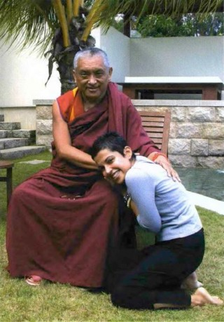 Tara Melwani with her teacher, Lama Zopa Rinpoche. Photo by Ven. Roger Kunsang.