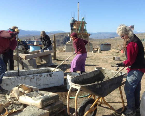 Pamtingpa Center stupa building work party, Tonasket, Washington, US, October 2013