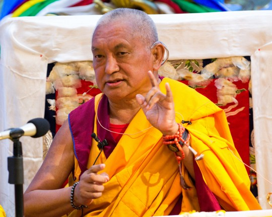 Lama Zopa Rinpoche at Maitripa College, Oregon, US,  June 2012. Photo by Marc Sakamoto.