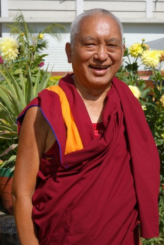 Lama Zopa Rinpoche upon arriving in Sarnath, India, March 2014. Photo by Ven. Roger Kunsang.