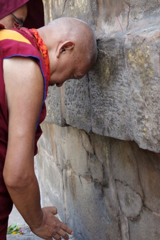 Lama Zopa Rinpoche making prayers at the great stupa in Sarnath, India, March 2014. Photo by Ven. Roger Kunsang.