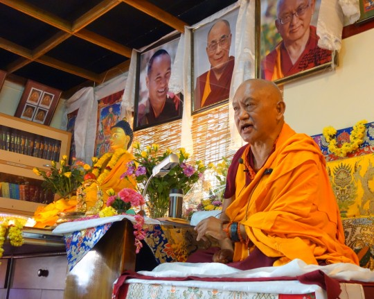 Lama Zopa Rinpoche on the first day of teaching at Choe Khor Sum Ling Study Group, Bangalore, India, March 2014. Photo by Ven. Roger Kunsang.