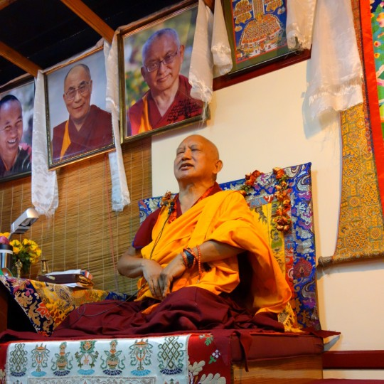 Lama Zopa Rinpoche teaching at Choe Khor Sum Ling Study Group, Bangalore, India, March 2014. Photo by Ven. Roger Kiunsang.