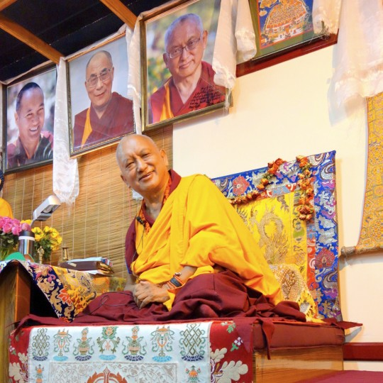 Lama Zopa Rinpoche at Choe Khor Sum Ling Study Group, Bangalore, India, March 2014. Photo by Ven. Roger Kunsang.