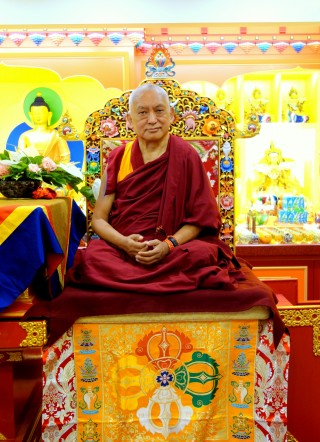 Lama Zopa Rinpoche at Jinsui Farlin Center, Taipei, Taiwan, April 2014. Rinpoche was there to open the center after its very extensive renovation. Jinsui Farlin opened 23 years ago and was the first FPMT center in Taiwan. Photo by Ven. Roger Kunsang.
