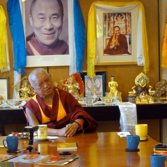 Lama Zopa Rinpoche offering advice to International Office staff, FPMT International Office, Portland, Oregon, April 2014. Photo by Ven. Holly Ansett.