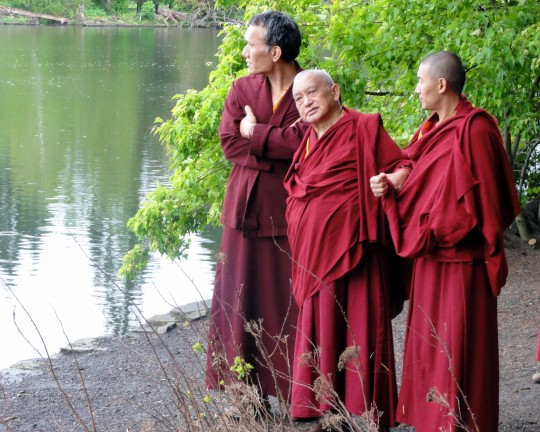 Lama Zopa Rinpoche with Yangsi Rinpoche (left) and Ven. Sangpo visiting Crystal Springs Rhododendron Garden in Portland, Oregon, US, April 2014. Photo by Ven.  Holly Ansett.