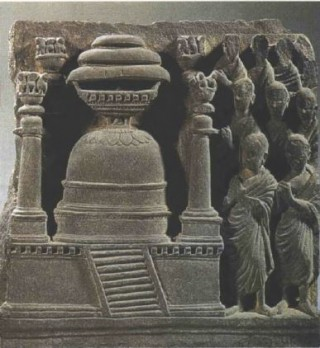 Monks worshipping Dona's Stupa. A fifth century sculpture from Gandhara