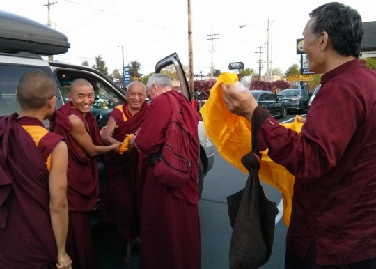 Lama Zopa Rinpoche arriving in Portland, Oregon, US, April 18, 2014. Photo by Mandala.