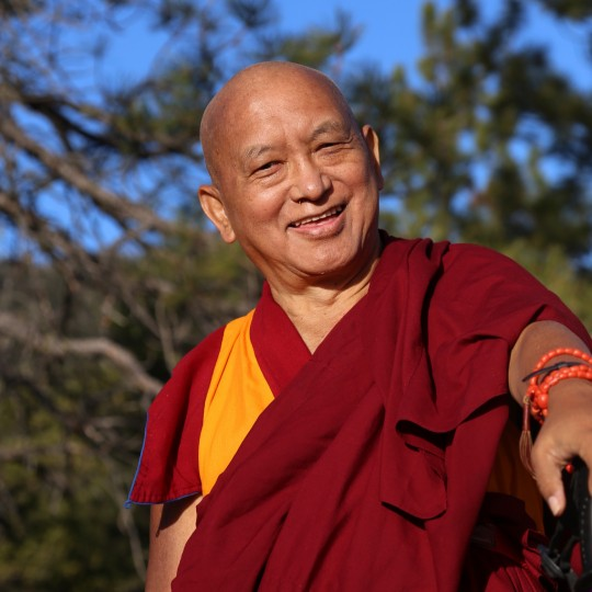 Lama Zopa Rinpoche at Buddha Amitabha Pure Land in Washington state, US, April 2014. Photo by Ven. Thubten Kunsang.