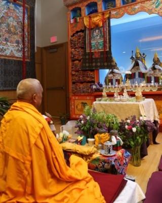 Lama Zopa Rinpoche at Maitripa College, Portland, Oregon, US, April 19, 2014. Photo by Ven. Thubten Kunsang.