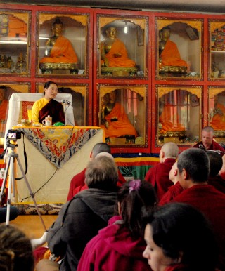 Khadro-la was warmly welcomed by Tushita Meditation Centre staff and students, March 9, 2014. Photo courtesy of Tushita Meditation Centre.
