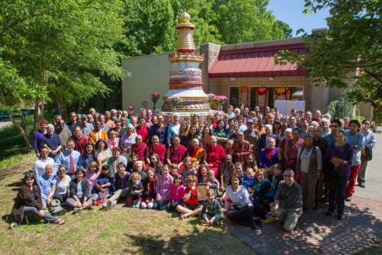 The Kadampa Center community gathers to celebrate completion of the Kadampa stupa, Raleigh, North Carolina, US, May 2013.
