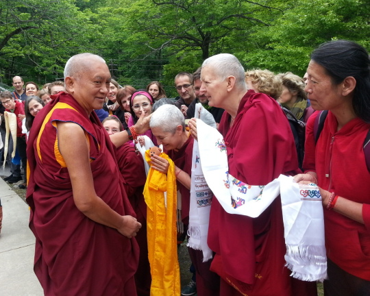Lama Zopa Rinpoche departing from the Light of the Path retreat, Black Mountain, North Carolina, US, May 2014. Photo by Ven. Roger Kunsang.