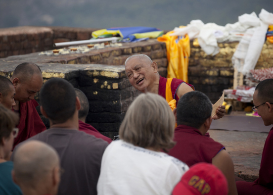 Lama Zopa Rinpoche teaching on Vulture's Peak, India, 2014. Photo by Andy Melnic.