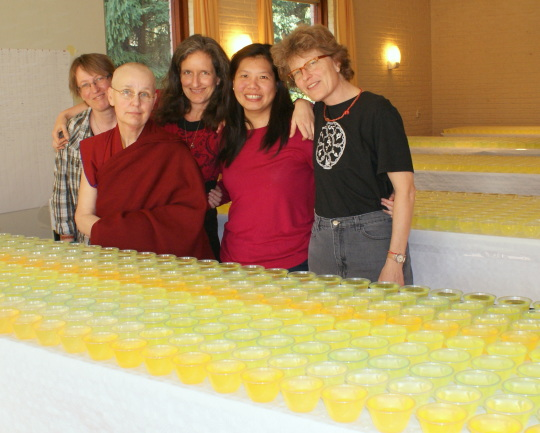 Group water bowl retreat participants Inge Eijkhout, Diana Carroll, Ven. Tenzin Chodron, Jaclyn Yip, Annette van Citters, March 2014. Photo courtesy of Maitreya Instituut.