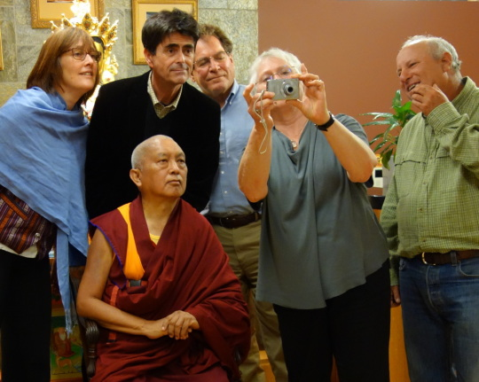 Lama Zopa Rinpoche with Alison Murdoch, Tim McNeill, Stephen Meyer, Paula de Wijs-Koolin, Karuna Cayton, FPMT Internation Office, Portland, Oregon, US, April 2014. Photo by Ven. Roger Kunsang.