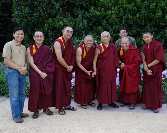 LamaZopaRinpochewithGesheGelek, KadampaCenterresident geshe;GesheTenley, KurukullaCenterresident geshe;GesheSangpo; Damcho,the translator; Rinpoche'sattendants Vens.SangpoandSherabRinpoche's host Mr.SonPhamoutforawalkintheparkinRaleigh,NorthCarolina, US, May 2014. Photo by Ven. RogerKunsang.