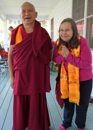 Lama Zopa Rinpoche and Mayra Rocha Sandoval, Light of the Path, Black Mountain, North Carolina, USA, May 2014. Photo by Sarah Brooks.