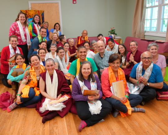 Lama Zopa Rinpoche with Spanish-speaking Light of the Path participants, Black Mountain, North Carolina, US, May 2014. Photo by Ven. Roger Kunsang.