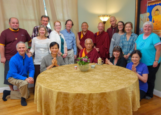 Lama Zopa Rinpoche with Light of the Path organizers, Black Mountain, North Carolina, US, May 2014. Photo by Ven. Roger Kunsang.