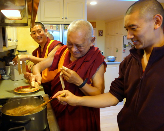 Lama Zopa Rinpoche making tukpa, Kachoe Dechen Ling, California, May 2014. Photo by Ven. Roger Kunsang.