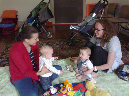 Katie Afrakoff Kelly with her son Eoin and Emma Jean with her son Sam at Meditation for Parents & Bubs, Vajrayana Institute. Photo courtesy of VI.