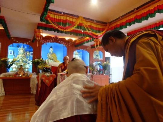 Kylie Plunkett begins the ordination ceremony with Choden Rinpoche overseeing, Vajrayana Institute, Ashfield, NSW, Australia, March 2014. Photo courtesy of Vajrayana Institute.