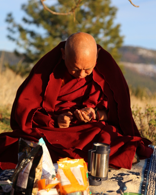 Lama Zopa Rinpoche making offerings to ants at Buddha Amitabha Pure Land in northcentral Washington, US, April 2014. Photo by Ven. Thubten Kunsang.