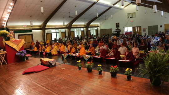 Lama Zopa Rinpoche at Light of the Path Reatreat, Black Mountain, North Carolina, US, May 2014. Photo by Ven. Thubten Kunsang.