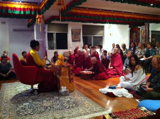Khadro-la teaches to a packed gompa at Vajrayana Institute, Ashfield, NSW, Australia, April 2014. Photo via  Vajrayana Institute's Facebook.